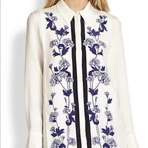 Mother of Pearl Keres Silk Embroidered Shirt